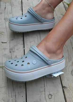 Crocs crocband platform clog grey крокс платформа серые
