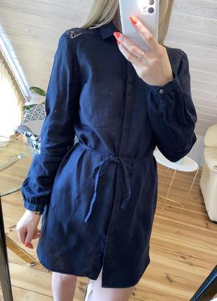 Льняная рубашка-платье с ажурной вышивкой