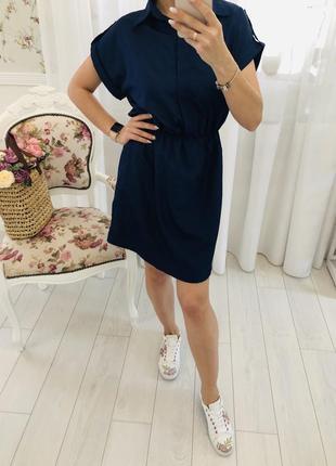 Стильное платье рубашка в рубашечном стиле с коротким рукавом