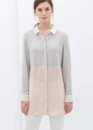 Удлиненная пастельная блузка рубашка
