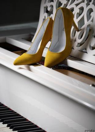 ❤ женские желтые замшевые туфли  лодочки ❤