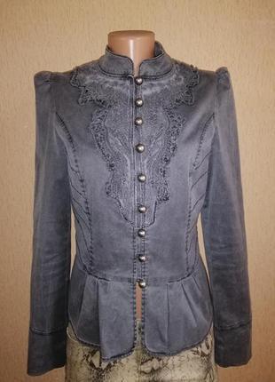 Стильный котоновый женский пиджак, жакет, куртка на пуговицах 10 р. miss selfridg