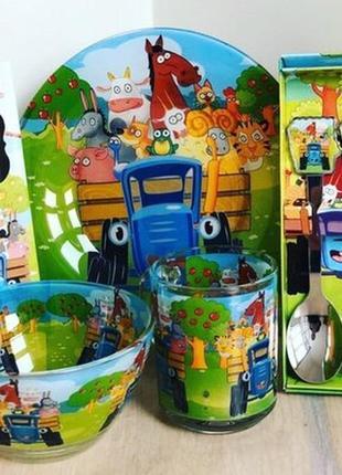 Детская посуда синий трактор