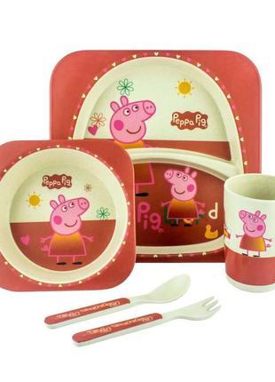 Детская посуда свинка пеппа бамбук