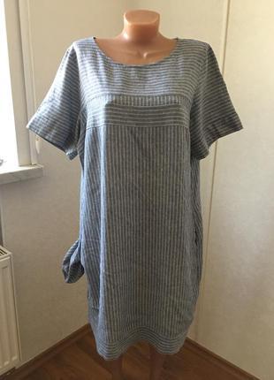 Платье  р.20  лен и вискоза