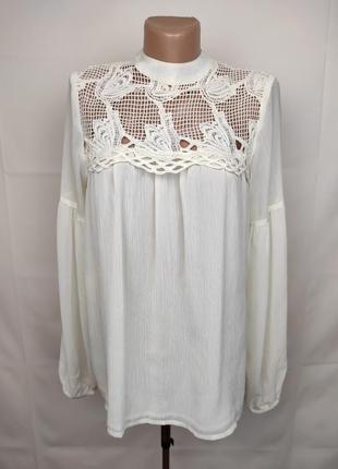 Блуза нарядная кружево шифон river island uk 12/40/m