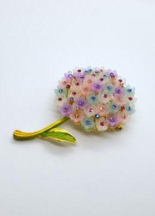 """✨🌺 необычайно нежная красивая брошь-кулон """"гортензия мультиколор"""" цветы кристаллы"""