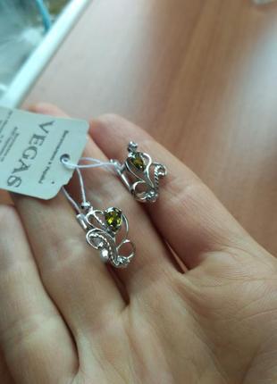 Серебряные сережки с цирконием