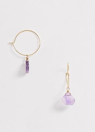 """🌷💜 серьги кольца с подвесками из натурального камня """"фиолетовый агат"""" от asos"""