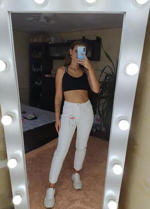 Нереально крутые белые винтажные плотные зауженные джинсы мом mon fit