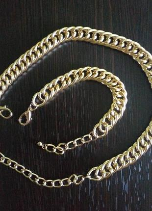 Набор цепь цепочка широкая золото браслет браслетик