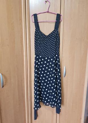 Легкое летнее красивое платье, вискозное черно-белое удлинённое платье в горошек, сукня