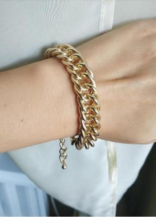 Браслет на руку цепь широкая золото браслетик