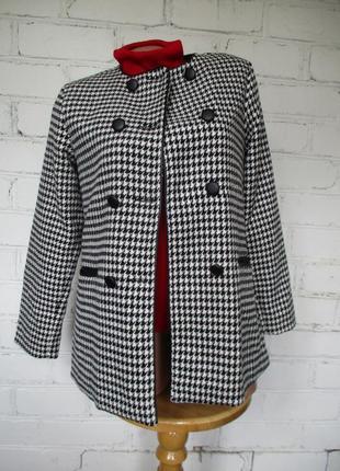 Жакет/пиджак/пальто двубортный шерстяной в клетку/гусиную лапку/шерсть/xs-s