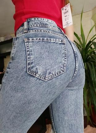 Крутые винтажные плотные зауженные джинсы мом mon fit рванка голубая варенка