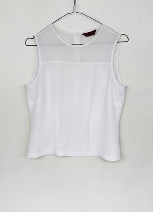 Белая блуза на пуговицах/ пуговицы на спине/ шифоновая майка/вставки сетки/