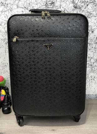 Дорожный чемодан prada rolling luggage ostrich 55 black женский / мужской