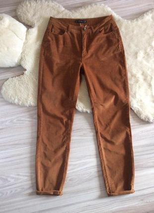 Вельветовые штаны, высокая посадка, горчичного цвета