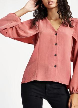 Стильная блуза с v-вырезом рубашка блузка на пуговицах с объёмными рукавами