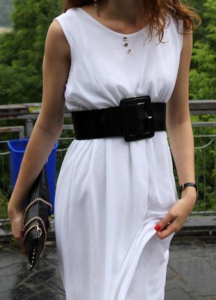 Легкое летнее платье/ шифоновое белое платье в пол/ макси платье/ белый сарафан/