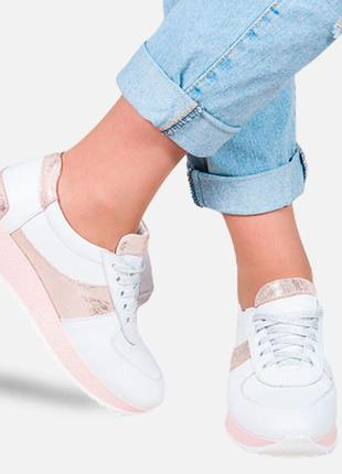 Кожаные белые кроссовки / кеды / сникерсы / кросівки / кеди / снікерси