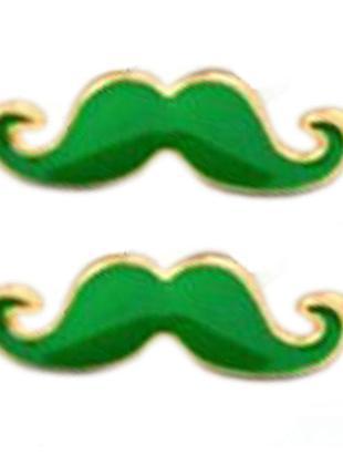 Распродажа! серьги гвоздики зеленые усы/усики, бижутерия