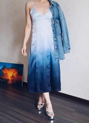 Платье градиент сатин pull&bear