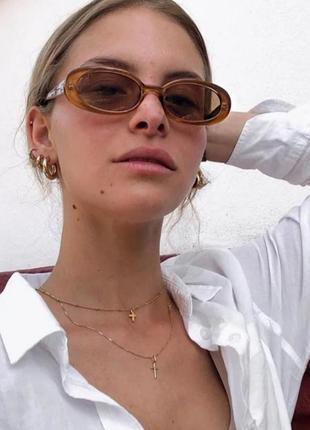 Качественные овальные солнцезащитные очки узкие ретро винтаж окуляри сонцезахисні