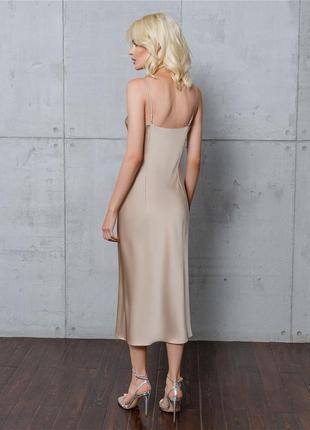 Платье комбинация миди шелковое, бежевое3 фото