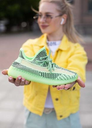 Кроссовки adidas yeezy boost 350 v 2 рефлектив шнурки + фосфор подошва салатовые с черным