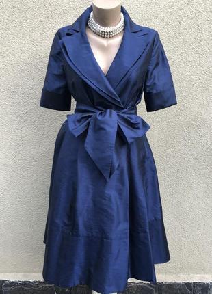 Синее,шёлк платье на запах,премиум бренд,