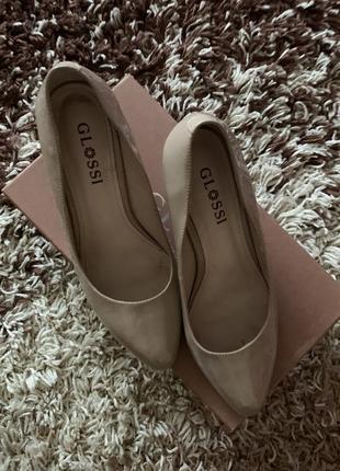 Красивые женские бежевые туфельки, натуральная кожа