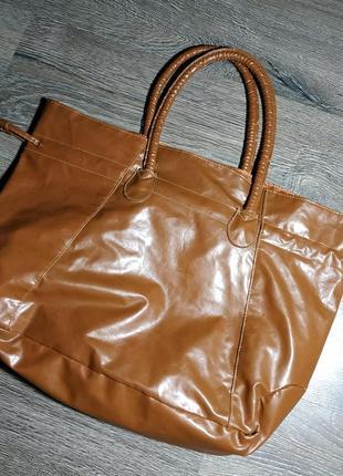 Большая вместительная сумка-шопер рыжего коричневого цвета