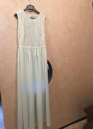 Нежно-голубое вечернее платье waggon paris