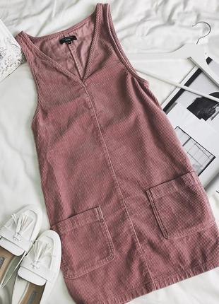 Актуальный трендовый нежно-розовый сарафан с карманами от new look