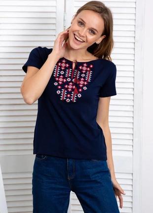 Синяя футболка-вышиванка красивый орнамент s-xxxl
