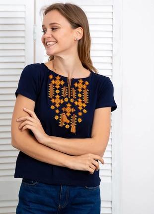 Темно-синяя футболка с вышивкой красивым орнаментом s-xxxl