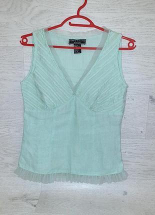 Летняя брендовая стильная легкая льняная блуза майка цвет тиффани