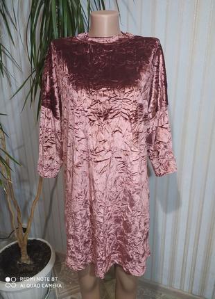 Апупительное велюровое платье свободного кроя от zara