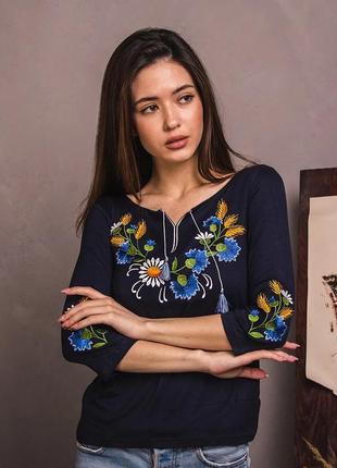 Лонгслив с цветочной вышивкой цвет синий рукав 3/4 р.s-xxl