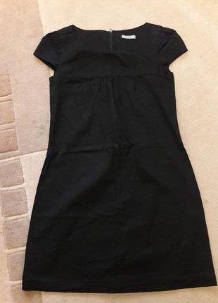 Хлопковое черное платье свободного кроя