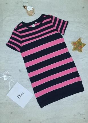 Спортивное трикотажное хлопковое платье-футболка туника в полоску на девочку, двунить
