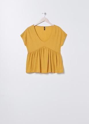 Новая широкая горчичная желтая блузка майка топ оверсайз польша тонкий материал xs s m l