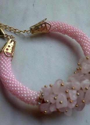 Супер нежный браслет из розового кварца2 фото