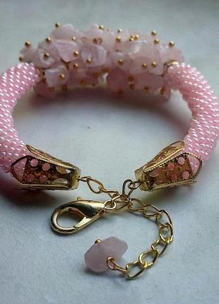 Супер нежный браслет из розового кварца3 фото