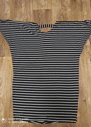 👗 платье- миди/ трикотажное/ в черно- белую полоску