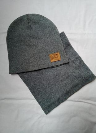 Набор шапка и хомут унисекс.