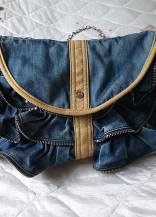 Джинсовая сумка. сумка с рюшами. сумка welfare.