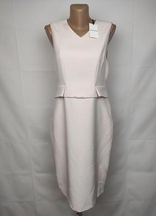 Платье футляр новое стильное кремовое на подкладке uk 12/40/m