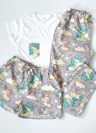 Женская пижама тройка в единороги